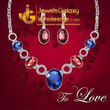 platinum plated american diamond multicolour necklace set
