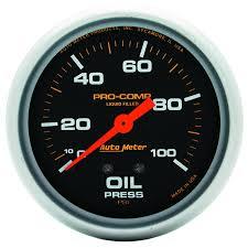 gauges pro comp 2 5 8 oil pressure 0 100 psi mechanical liquid filled