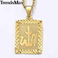 trendsmax pendant necklace for men women gold dog tag religious muslim mens pendant woman jewelry 2018 gifts kgp294a malaysia