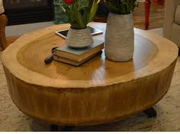 ... Coffee Table, Charming Cream Oval Minimalist Wood Stump Coffee Table  Designs As The Furniture Of ...