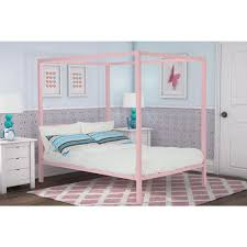dhp modern metal canopy full size bed frame in white  the
