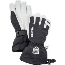 Junior Army Leather Heli Ski Gloves Black