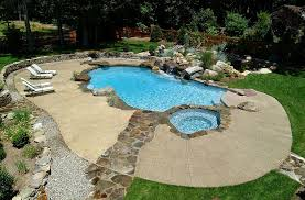 neat concrete pool deck with a stone walkway design cool pool