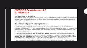 Service Contract - Freddie P Entertainment
