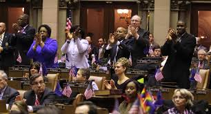 swearing in day the daily gazette the crowd cheers after assemblymember john mceneny swears in 109th assembly district representative patricia fahy at