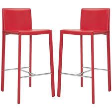 red leather bar stools. Safavieh Mid-Century 30-inch Park Red Leather Bar Stool (Set Of 2 Stools