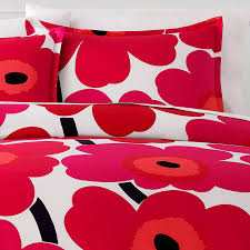 marimekko unikko red comforter duvet set