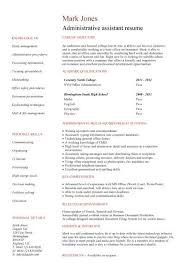 Duties Of Administrative Assistant Stunning Entry Level Resume Templates CV Jobs Sample Examples Free