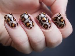Nail Art Design Animal Print Glitter Nails With Brown Leopard Print Nail Art Design