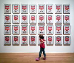 looking at andy warhol cbell s soup cans 1962 synthetic polymer paint on 32 canvases each 20 x 16 inches the museum of modern art photo