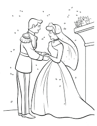 Coloring Pages Cinderella And Prince Charming Kissing Of ...