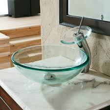 Bathroom Lavatory Sink Clear Tempered Glass Lavatory Sink 15mm Thick Bathroom Sinks