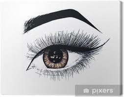 Quadro Su Tela Bellissimo Occhio Femminile Aperto Con Lunghe Ciglia