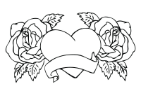 Heart Of Roses Printable Coloring Page Printable Coloring Page For
