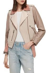 allsaints balfern color block suede leather biker jacket in pink mix