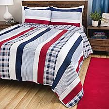 Amazon.com: 3 Piece Madras Blue Red White Striped Quilt Full Queen ... & 2 Piece Madras Blue Red White Striped Quilt Twin Set, Vertical Striped  Bedding Rugby Pattern Adamdwight.com