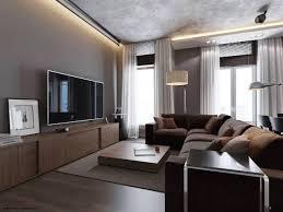 image of grey living room walls brown furniture