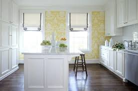 wallpaper for kitchen countertops white cabinets island with marble yellow pattern wallpaper dark wood flooring roll up fabric shades marble wallpaper for