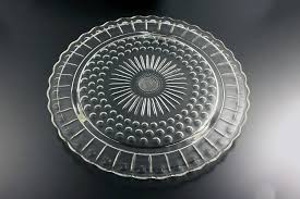 footed cake plate federal glass sunburst dots and panels clear glass dessert plate