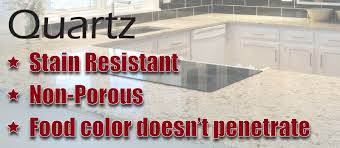 natural stones granite and marble are porous and needs sealant on regular interval when it comes to quality stain resistant countertops quartz surfaces