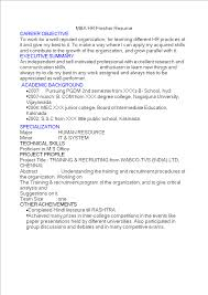Free Mba Hr Fresher Resume Templates At Allbusinesstemplates Com