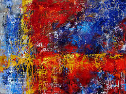 abstract textured painting mixed a art red blue yellow by debra hurd