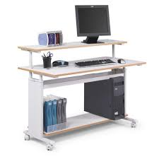 desk attractive movable computer desk particle board panel steel frame material white finish locking caster mobility