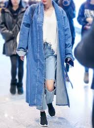 fashion solid long sleeve denim trench coat with belt