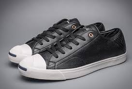 converse jack purcell black ox leather ltt embroidery low tops shoes converse red shoe laces