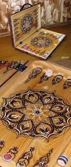 wood gifts backgammon suitcase hand painted arabic ornament wood grain