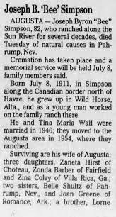 Obituary for Joseph Byron Simpson (Aged 82) - Newspapers.com