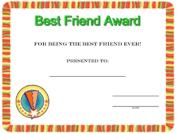 Small Picture Friendship Day Best Friend Award Certificate To Print Coloring Pages