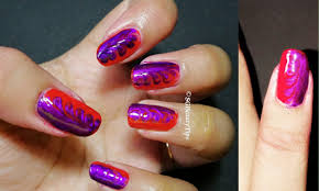 Red & Purple Dry Marble Nail Art | No Water Needed Marble Nail Art ...