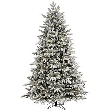 GE 7.5-ft Pre-lit Alaskan Fir Flocked Artificial Christmas Tree with 600  Color
