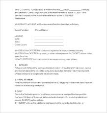 Catering Contract Agreement New Catering Agreement Metierlink