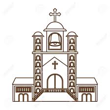 Front Church Design Church With Front View Isolated Icon Vector Illustration Design