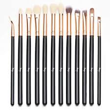 amazon qivange eye brush set cosmetics makeup brush set eyeshadow blending brushes eye makeup brushes 12pcs black with rose gold beauty