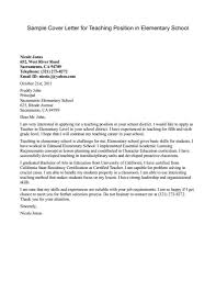 Elementary Teacher Cover Letter No Experience Job And Resume