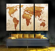 decor tips 3 piece world map wall art for awesome living room