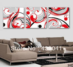hand painted black white red wall art decor for living room modern abstract 3 panel sets oil canvas picture paintings no frame in painting calligraphy  on red black white wall art with hand painted black white red wall art decor for living room modern