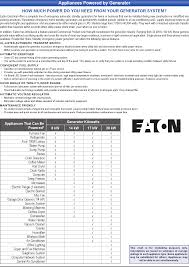 Eaton Heater Chart Appliances Powered By Generator Wiring Devices Data