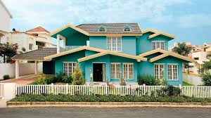 exterior house color combination. captivating teal and yellow color combination for exterior house ideas with white fence additional how to
