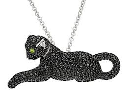 black spinel sterling silver cat brooch pendant with chain 2 98ctw rrh001 jtv com