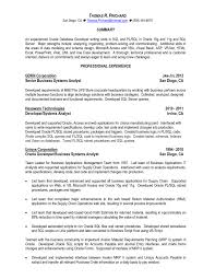 Sample Resume For Sql Developer Fresher Resume Oracle Developer Sample Sql Best Solutions Of For With 2