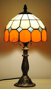 orange table lamps copper vintage glass lighting fitting tiffany bedroom bedside fashion fresh decoration