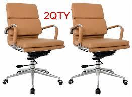 classic office chair. Classic Replica Medium Back Office Chair (Set Of 2) - Camel Vegan Leather, Thick High Density Foam, Stabilizing Bar Swivel \u0026 Deluxe Tilting Mechanism