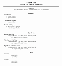 Resume Template For First Job First Job Resume Template Fresh Resume Examples For First