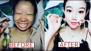 before and after chinese makeup