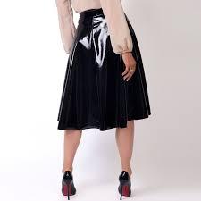 womens las pvc leather skirt pleated midi flared