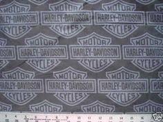Biker White HARLEY DAVIDSON Gray Bar and Shield logo Quilt Fabric ... & Biker Black HARLEY DAVIDSON motorcycle Logo Quilt Fabric 38
